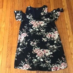 Anthropology/Sugar Lip Floral cold-shoulder dress